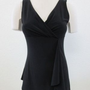 WHBM SZ M Top Black Scarf Drop Asymmetrical hem